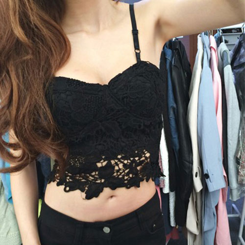 Black White Lace Fishnet Cutouts Cropped Slip Top Camisole [grxjy561085] on Luulla