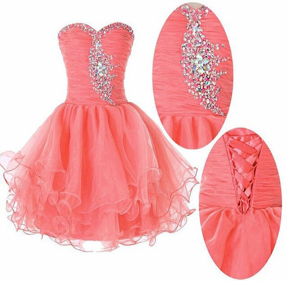 coral dress lace up sparkly bodess tool skirt. sweatheart neckline