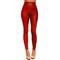 Red faux leather high waist leggings   emprada