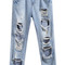 Blue pockets ripped denim pant -shein(sheinside)