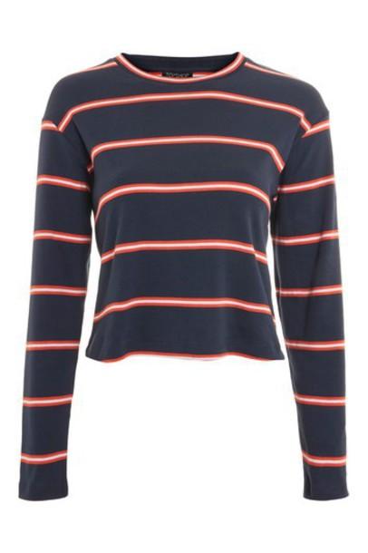 Topshop t-shirt shirt t-shirt long navy blue top