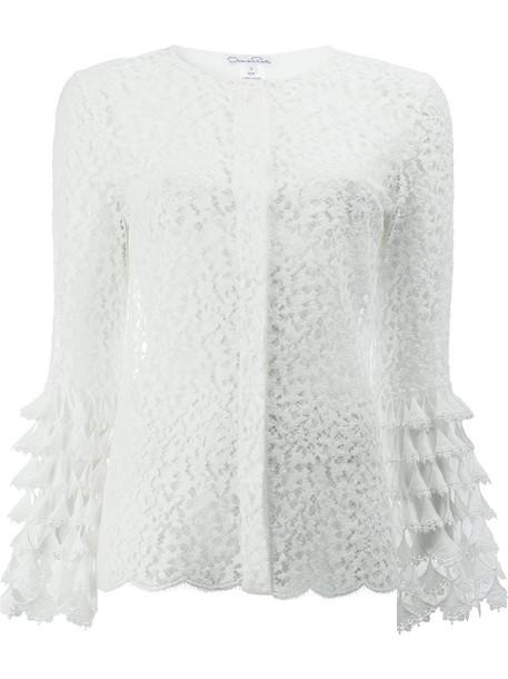 oscar de la renta blouse women lace white cotton top