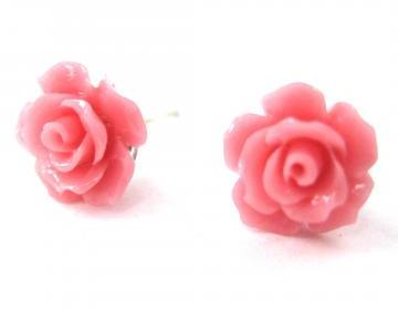 Small Floral Rose Resin Stud Earrin..