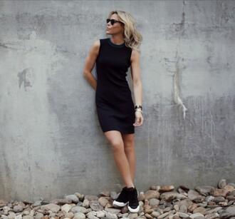 happily grey blogger dress shoes black dress black sneakers mini dress short dress sneakers black sunglasses sleeveless dress