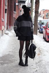 babes in velvet,blogger,oversized sweater,oversized turtleneck sweater,sweater,shorts,shoes,striped turtleneck sweater,beanie,pom pom beanie,black beanie,black shorts,tights,black backpack,backpack