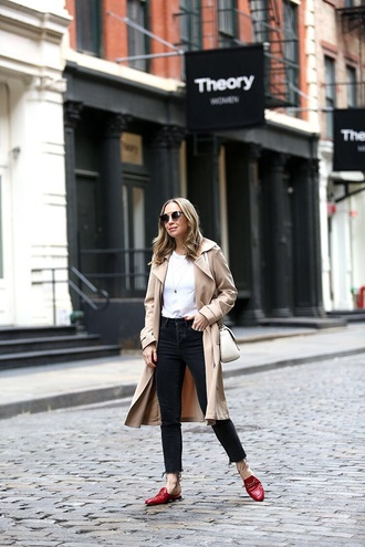 coat trench coat top white top black jeans skinny jeans shoes mules red shoes jeans denim