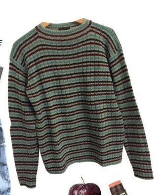 sweater green sweater grunge tumblr aesthetic green striped sweater 90s style 80s style 70s style