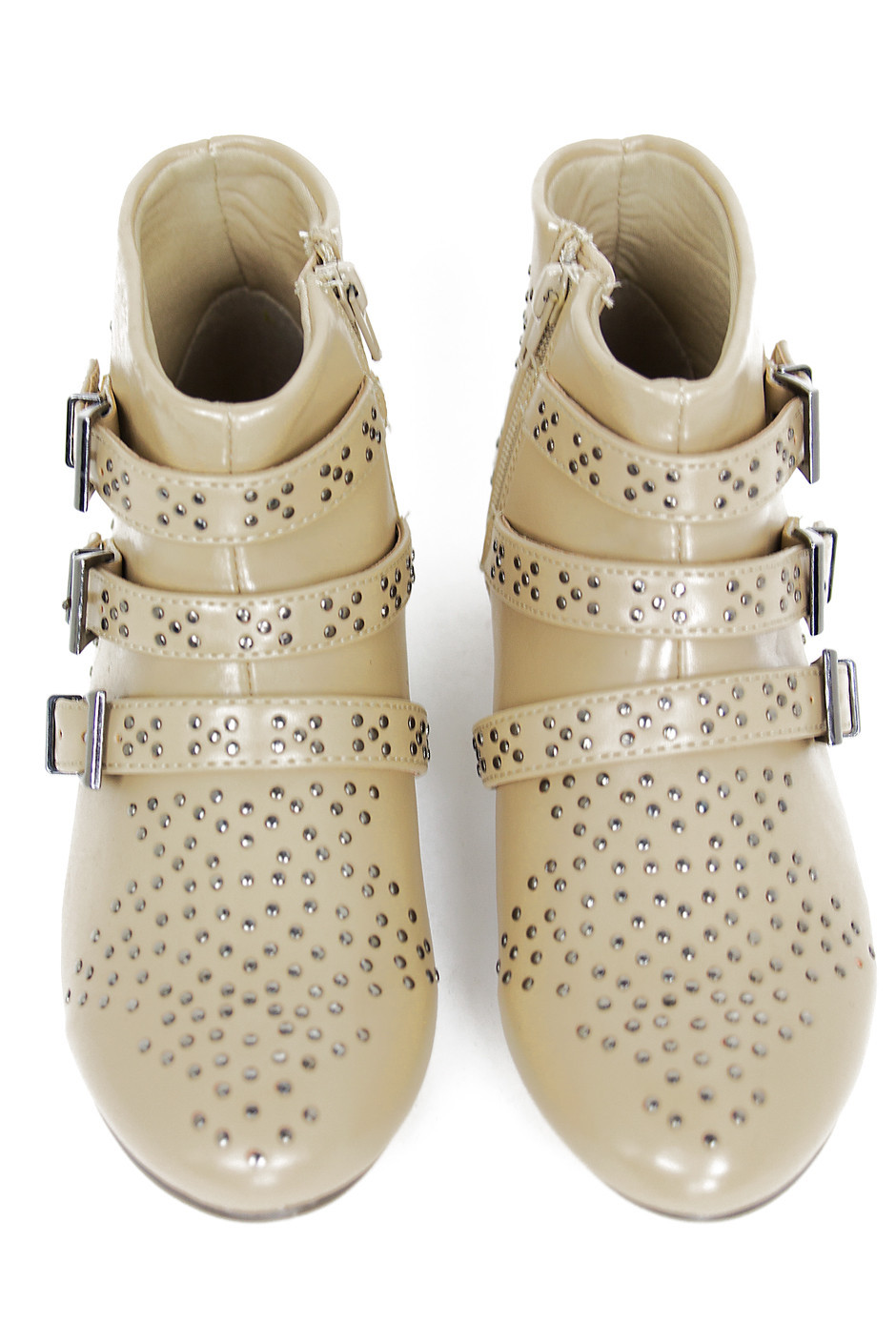 STUDDED ANKLE BOOTS - Beige   Haute & Rebellious