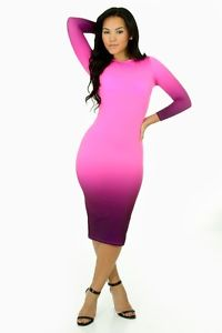 Pink and Purple Ombre Stretch Bodycon Sexy Club Dress | eBay