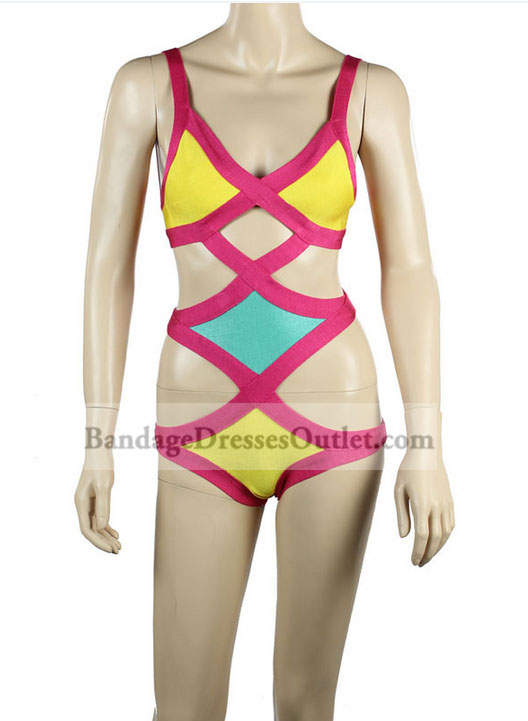 Pink Yellow Colorblocked Bandage One-piece Swimsuit [Pink Yellow One-piece Swimsuit] - $62.00 : Cheap Bandage Dresses Online, Wholesale Price Bandage Dresses Outlet