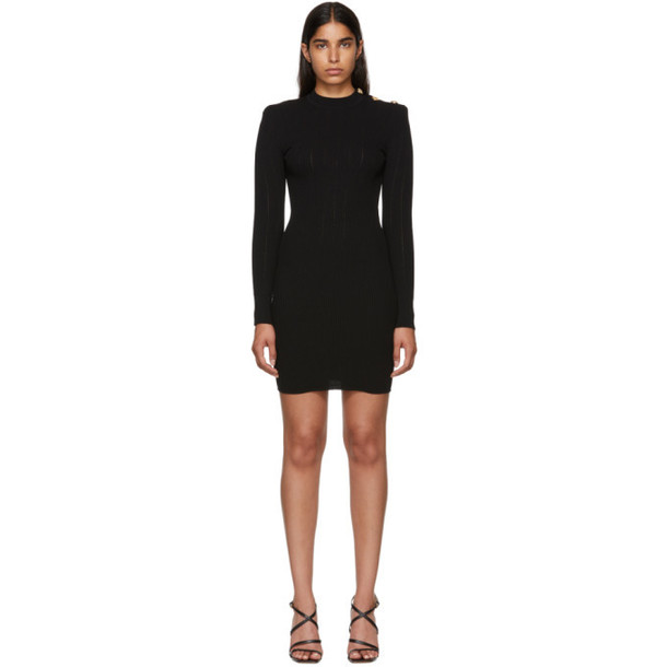 Balmain Black Long Sleeve Wool Dress