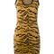 Dsquared2 - animal print mini dress - women - polyester/viscose - m, brown, polyester/viscose
