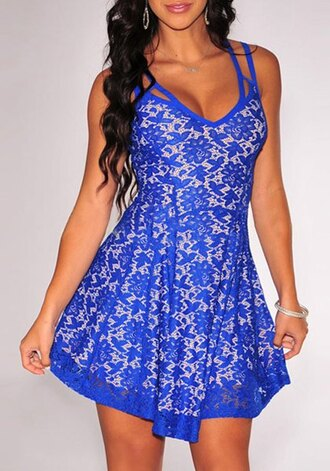 dress skater dress summer dress summer outfits dentelle lace dress blue blue dress flare sexy sexy dress
