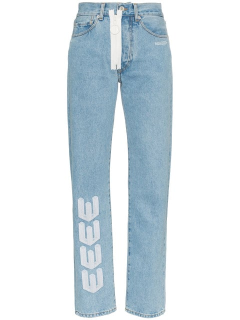 Off-White Embroidered Arrow Straight Leg Jeans - Farfetch