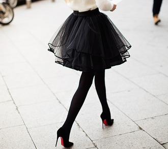 skirt black skirt tutu black tutu high heels black high heels sweater white sweater