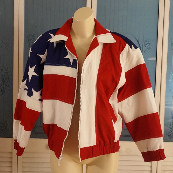 Vintage womens mens genuine american flag bomber by notsewidle