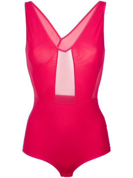 Giuliana Romanno bodysuit women spandex purple pink underwear