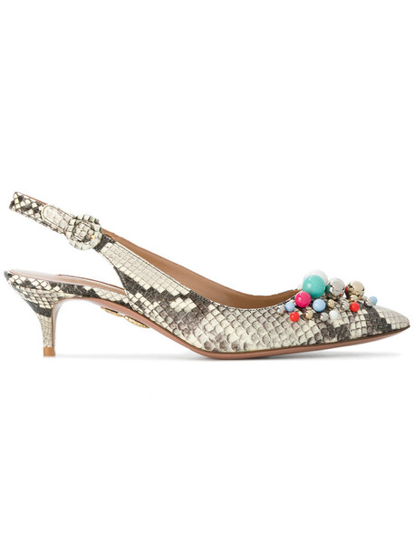 Aquazzura snake women pumps leather brown shoes
