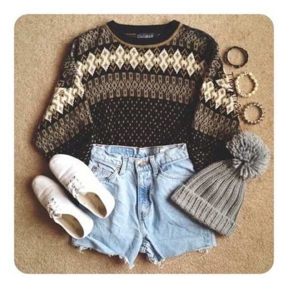 sweater hat folk indie beanie oxfords clothes shorts shoes white jewels grey cool shirt
