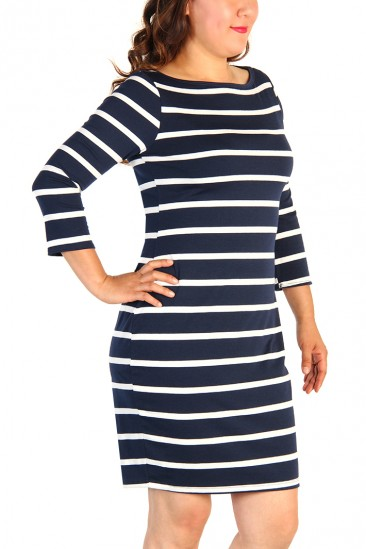 LoveMelrose.com From Harry & Molly | Plus Size Striped Dress - Navy