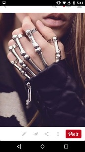 jewels,accessories,bracelets,hand jewelry,bones,silver,edgy