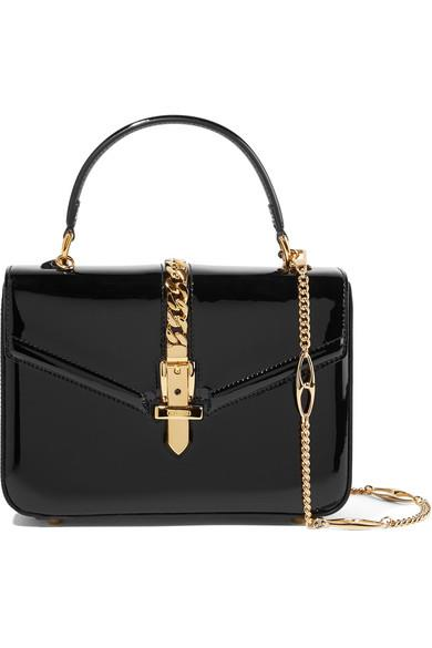 Gucci - Sylvie 1969 Mini Chain-embellished Patent-leather Tote - Black - Sylvie 1969 Mini Chain-embellished Patent-leather Tote