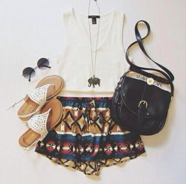 shorts aztec soft shorts colorful blue black cute style fashion celebrity style vintage tank top bag jewels shoes