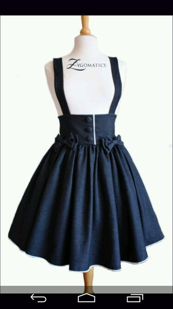 Skirt: high waisted skirt, overall skirt, bows, kawaii, lolita ...