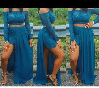 dress aqua two piece dress set two-piece off the shoulder long sleeves skirt flare trendy lace lace dress lace top