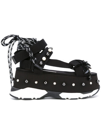 women sandals lace leather cotton black shoes