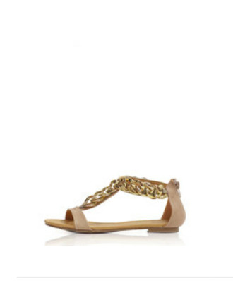 nude beige chains flats