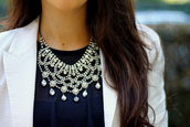 jewels,necklace,statement necklace,crystal,pearl,white pearl,rhinestones,formal,black tie,beading,bib necklaces,bib necklace