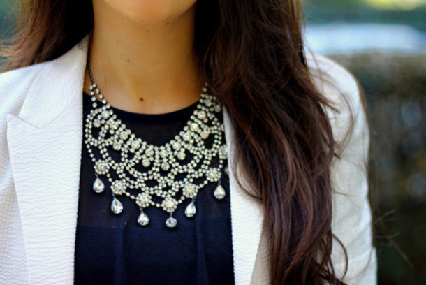 jewels necklace statement necklace crystal crystal pearl pearl white pearl rhinestones rhinestones formal black tie beading bib necklaces bib necklace