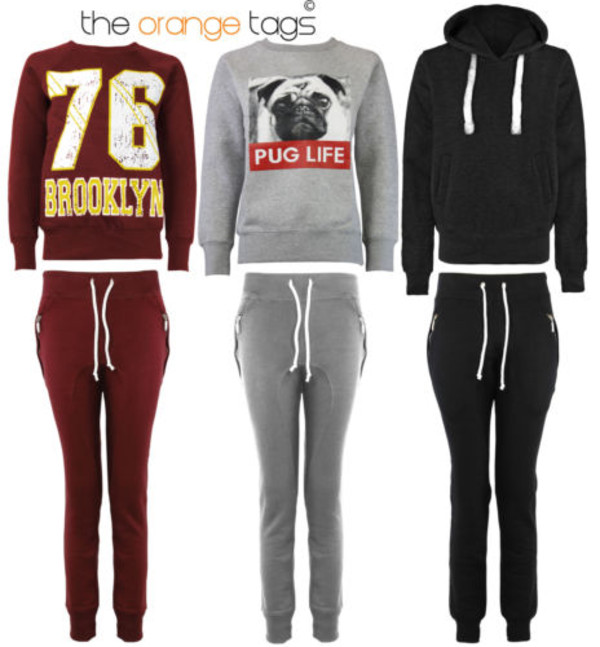 sweater bottoms brooklyn plain sweatshirt grey silver wine black charcoal sportswear street urban tracksuit joggers jogging bottoms sweatshirt pug life pug life sweatshirt