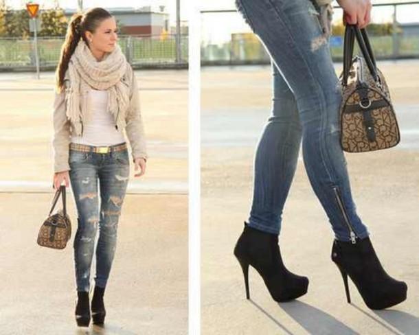 Jeans: high heels, black high heels, scarf - Wheretoget