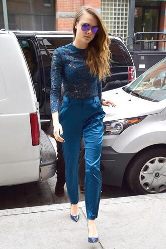 pants lace top lace cara delevingne pumps shoes