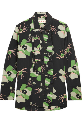 blouse floral print silk black green top
