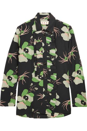 blouse floral print silk black green top