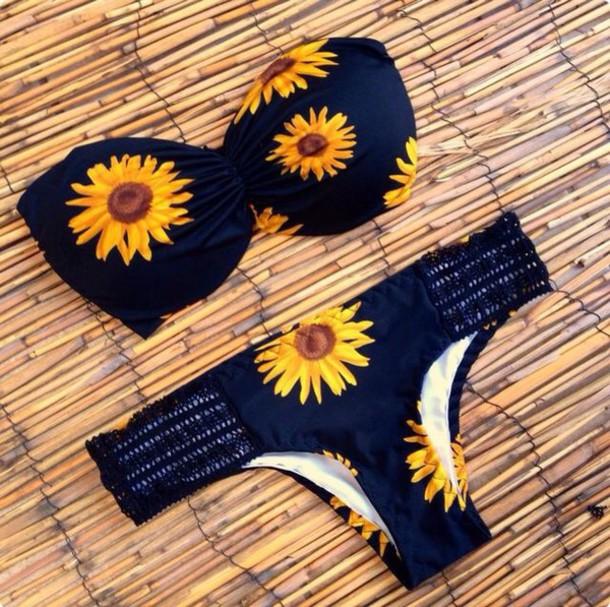 swimwear sunflower bikini swimwear swimwear style fashion bikini top bikini bottoms sunflower swimwear sunflower print yellow swimwear blue swimwear sunflower bikini flowers yellow black floral swimwear