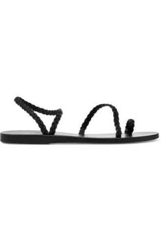 braided sandals leather sandals leather black shoes
