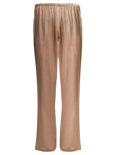 Carine Gilson lace silk satin nude pants