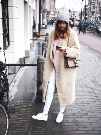 a dash of fash blogger sweater jeans hat coat bag shoes winter outfits beanie sneakers gucci bag nude coat