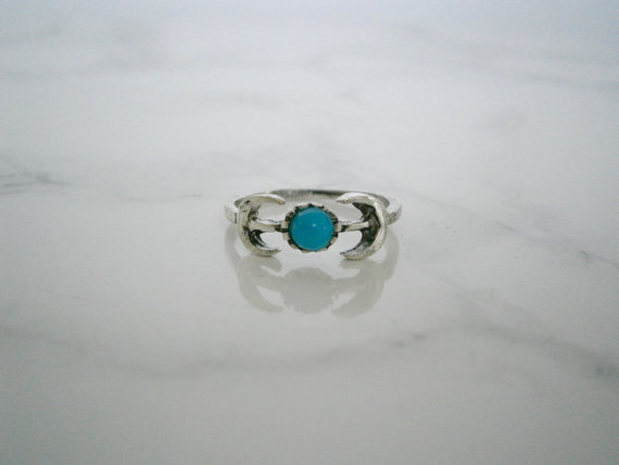 Silver Bohemian Half Moons and Blue Stone Ring