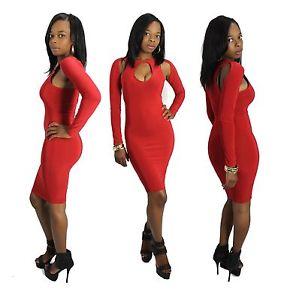 Red bodycon dress ebay