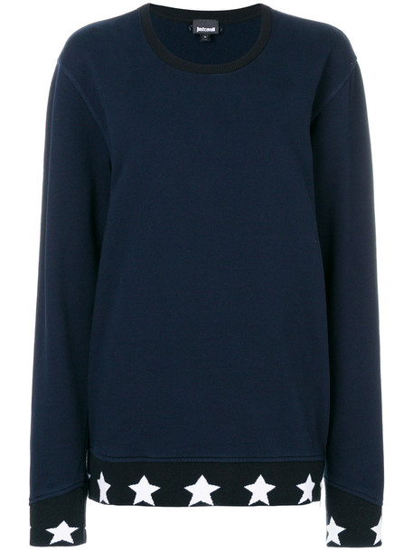 just cavalli sweatshirt women cotton blue sweater