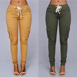 jeans army green pockets kakis skinny jeans skinny pants streetwear streetstyle