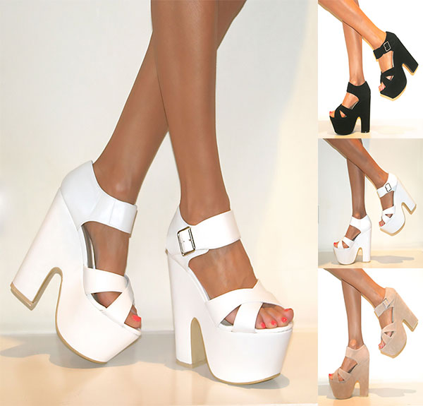 CHUNKY DEMI WEDGE PLATFORM PEEP TOE HIGH HEEL ANKLE STRAP SHOES ...