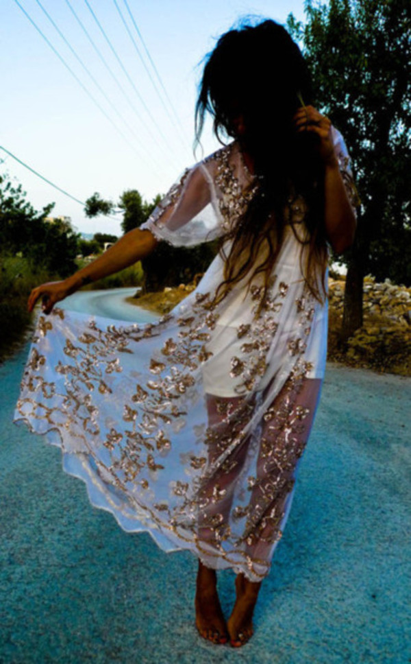 dress clothes see through dress vintage gold sequins cover up see through pattern white and gold white prom boho bohemian maxi hippie hippie embellished dress hippie chic United Kingdom sheer gold long dress short sleeve dress lace lace dress white dress sheer dress white