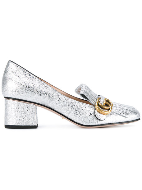 gucci women heels silver leather grey metallic shoes