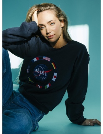 sweater navy blue sweatshirt blue sweatshirt vintage vintage sweatshirt nasa blue nasa nasa pullover flags world flags nasa sweater